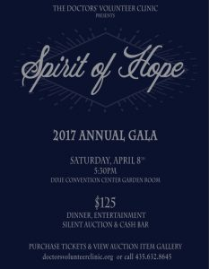 Doctor's Volunteer Clinic - 2017 Spirit of Hope Gala @ Dixie Convention Center Garden Room | Saint George | Utah | United States