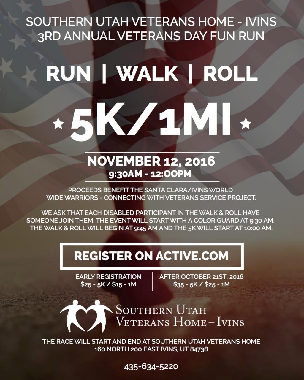 3rd Annual Veterans Day 5k & Fun Run - Southern Utah Cares